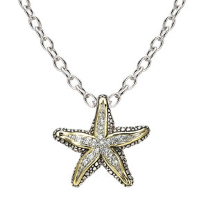 """Two Tone Pave Starfish Pendant with 16"""" Chain"""