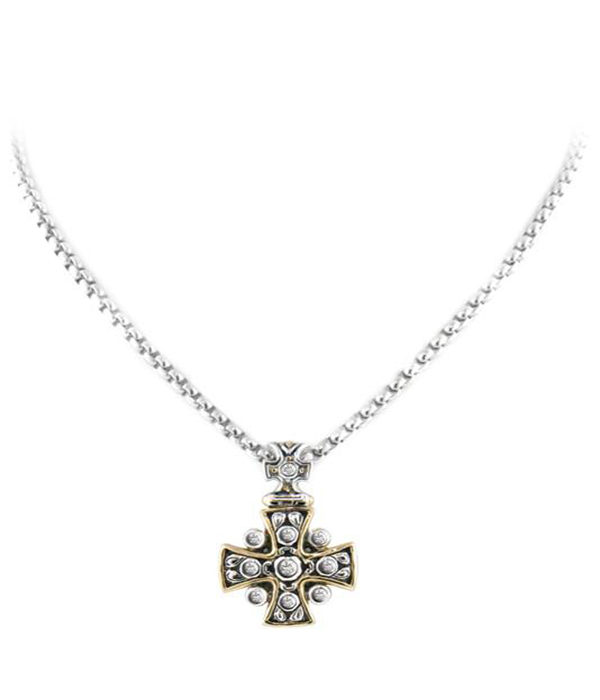 two tone Cross CZ Pendant with Necklace
