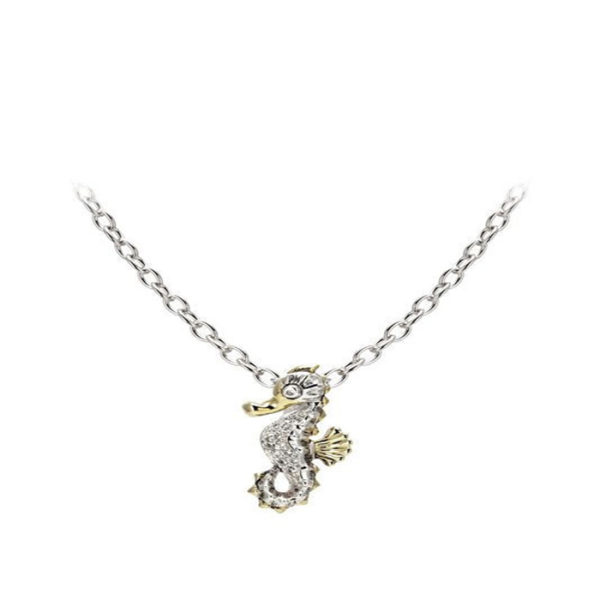 two tone pave Seahorse Pendant with Chain by john medeiros