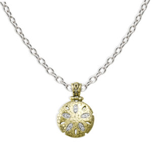 two tone Sand Dollar Pendant with Chain