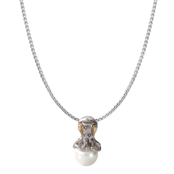 two tone octopus pearl Pendant with Chain