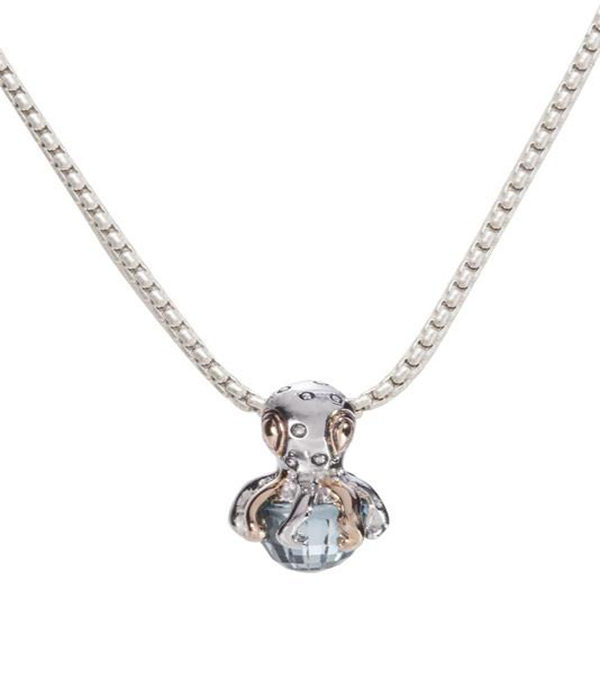 """two tone Octopus holding aqua stone with 16"""" Chain"""