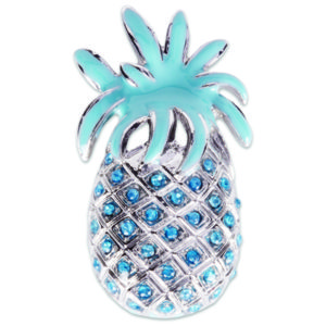 The Kacee Snap is a silver pineapple with turquoise enamel and stones.