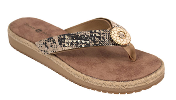The Keeley Natural is a EVA wedge sandal with soft ribbon thong and suedecloth sock and a snakeskin strap with a gold metallic ornament.