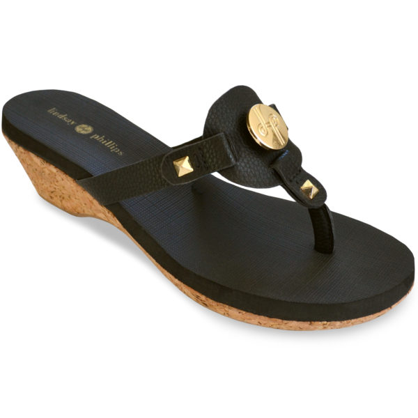 The Lexi Black is a 1 3/4″ molded platform wedge with yoga mat footbed and black textured faux leather upper with a gold LP logo interchangeable signature snap.