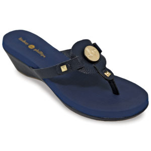 The Lexi Navy is a 1 3/4″ molded platform wedge with yoga mat footbed and navy textured PU upper and wrap with a gold LP logo signature snap.