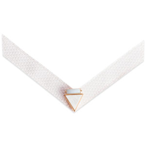 The Loralie Strap is an antique white basket weave PU strap with white marble and mint stone.