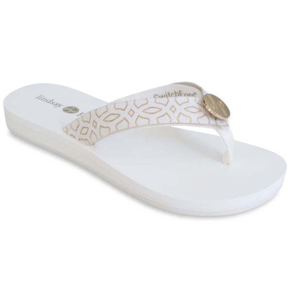 The Lulu -Tu White is an updated version of our 1″ classic EVA flip flop with soft ribbon thong and a white and gold strap with a gold LP logo ornament.