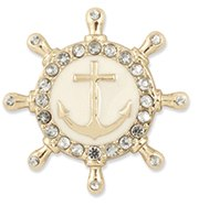 The Maggie Snap is a gold ship wheel with anchor on antique white enamel surrounded by rhinestones.