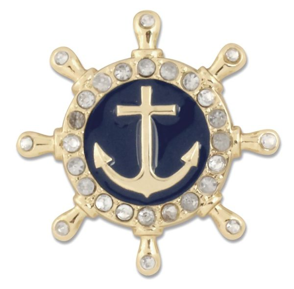 The Marley Snap is a gold ship wheel with anchor on navy enamel surrounded by rhinestones.