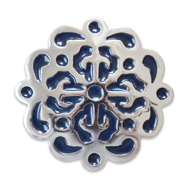The Mica snap is a navy enamel snap with shiny silver base design.