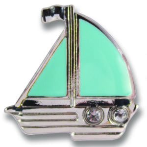 The Misty Snap is a turquoise enamel sailboat with sliver base.