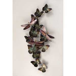 Bronze Dragonflies & green and brown Butterflies stainless steel wall art