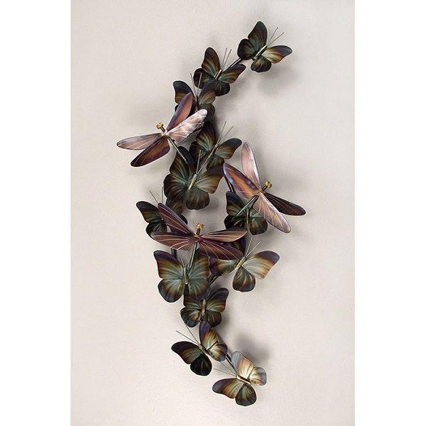 Bronze Dragonflies & green and brown Butterflies stainless steel wall art