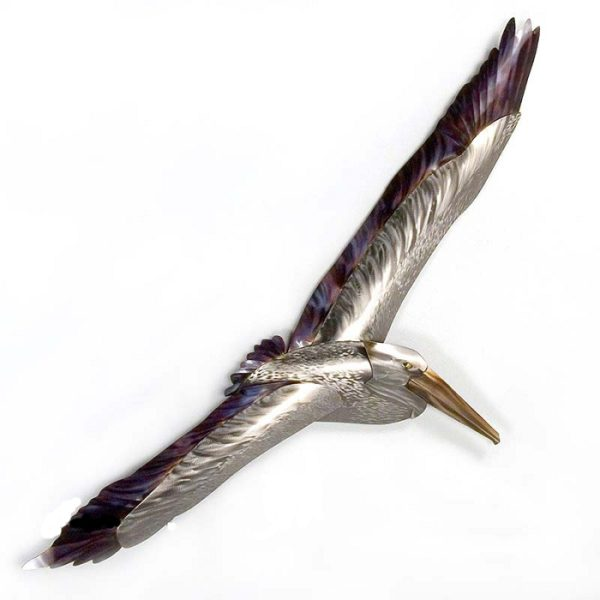 Stainless steel Pelican Soaring wall art by mark malizia