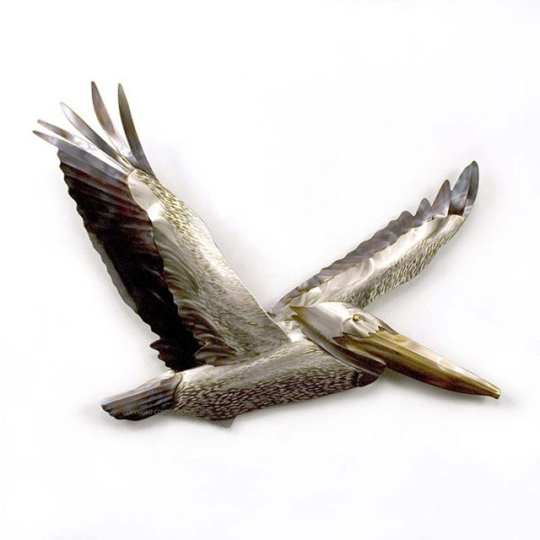 Stainless steel Pelican Flying wall art by mark malizia