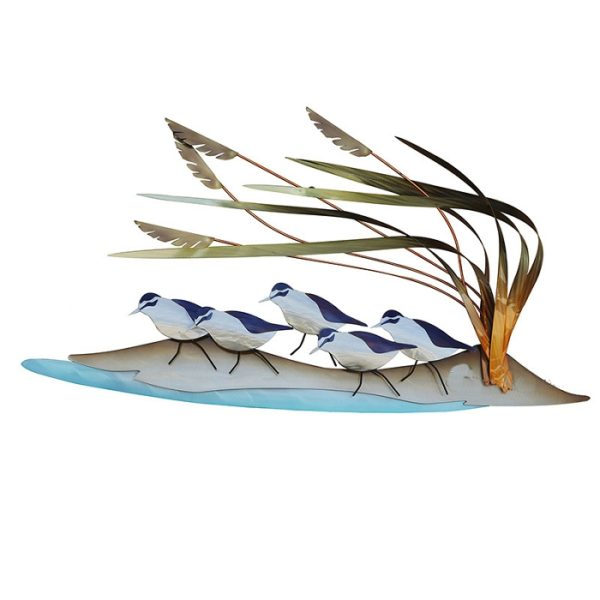 5 sandpipers on sand with weeds and water stainless steel wall art by mark malizia