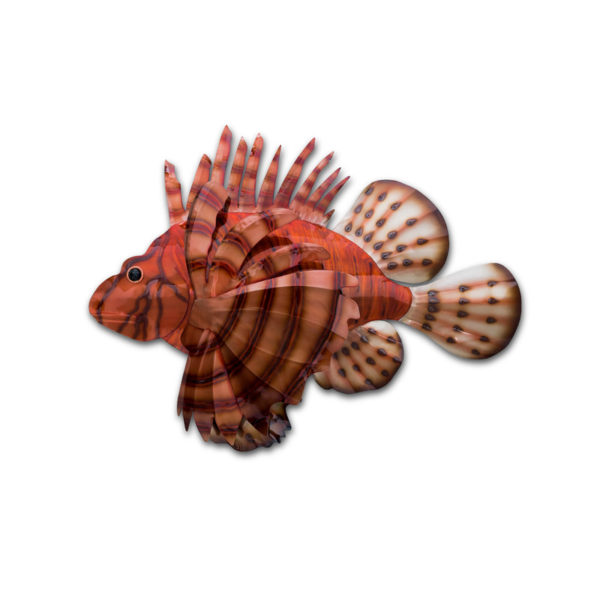 lion fish stainless steel wall art handcrafted by mark malizia