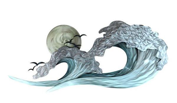 surfline ocean waves with sun in background ocean coastal stainless steel wall art handcrafted by mark malizia