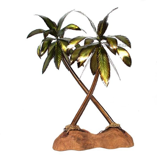 Palm Double on Teak Base stainless steel home decor by mark malizia