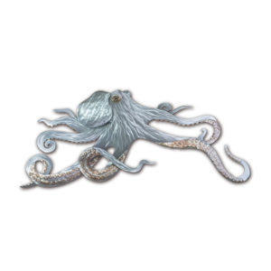 octopus ocean coastal stainless steel wall art handcrafted by mark malizia