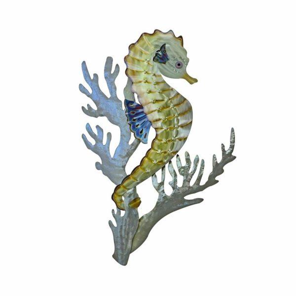 seahorse in kelp ocean coastal stainless steel wall art handcrafted by mark malizia