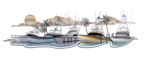 hawks nest 4 boats and a sunset background ocean coastal stainless steel wall art handcrafted by Mark Malizia