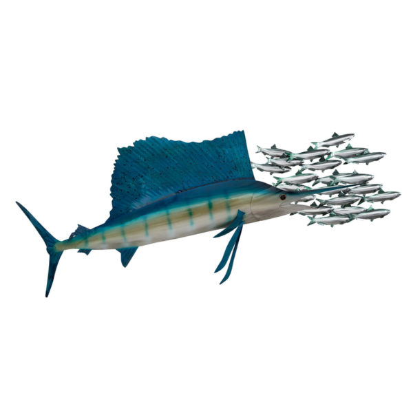 Throwing Shade sailfish chasing minnows ocean coastal stainless steel wall art handcrafted by Mark Malizia