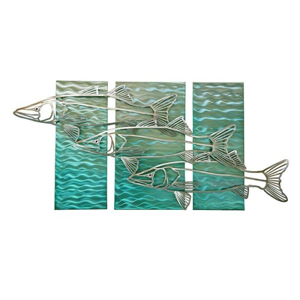 Abstract Snook on turquoise water background stainless steel wall art by mark malizia