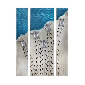 making tracks baby sea turtles crawling to ocean stainless steel wall art handcrafted by mark malizia