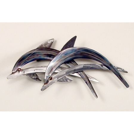 Dolphin Pair Blue and Silver Stainless Steel Wall Art