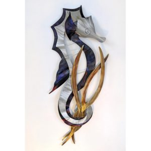 Seahorse Head Down (Right Facing) Blue and Silver with Tail Wrapped around seaweed stainless steel wall art