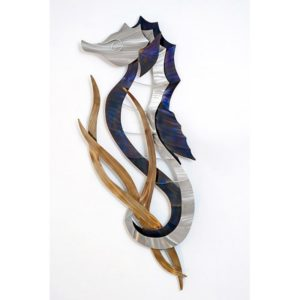 Seahorse Head Up (Left Facing) Silver and Blue with tail wrapped around seaweed