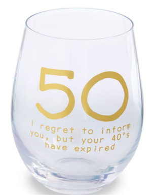 50th Birthday Stemless Wine Glass