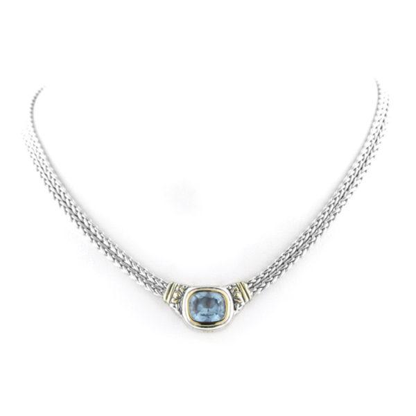 two tone blue stone Nouveau Double Strand Necklace