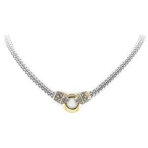 two tone Antiqua Gold Circle Double Strand Necklace