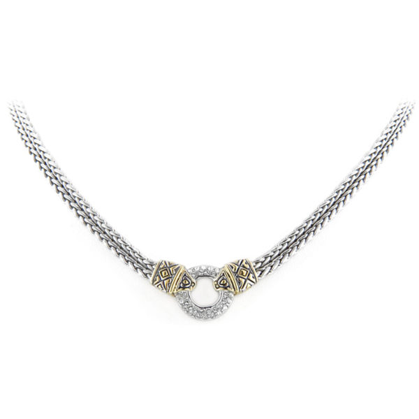 Two tone Antiqua Pave Circle Double Stand Necklace