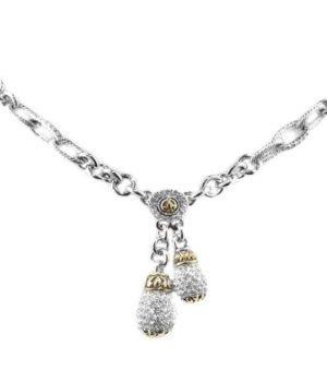 two tone Pave Double Drop Necklace