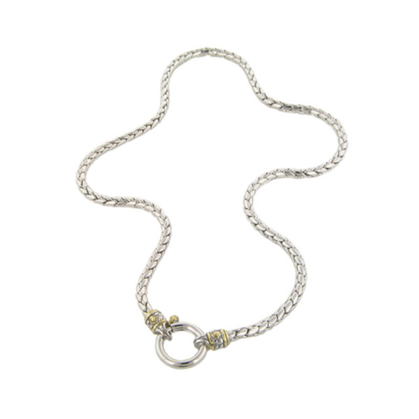 two tone Spring Ring Chain Necklace