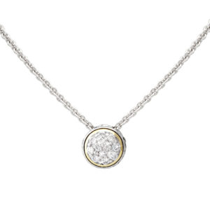 two tone Lanna Solitaire Pave Necklace