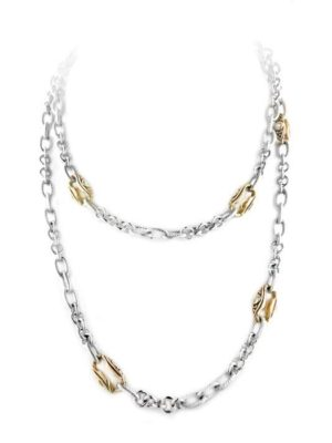 """two tone 36"""" Seven Station Necklace with CZ"""