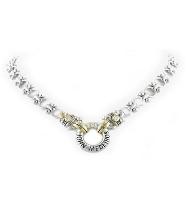 """two tone 19"""" Ring Necklace with Cubic Zirconia"""