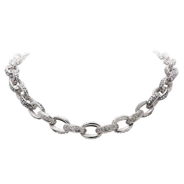 two tone Pave Oval Link Necklace
