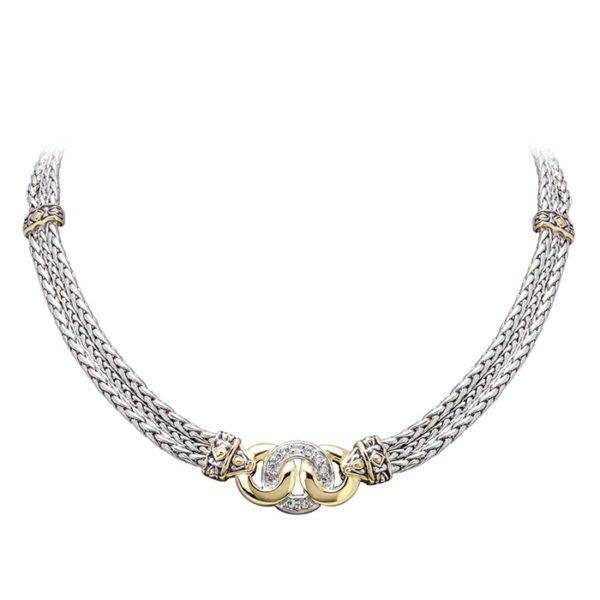 Two Tone Pave Three Circle Necklace