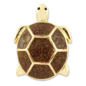 The Natalie Snap is a gold turtle with brown glitter enamel shell detail. lindsay phillips switch flops