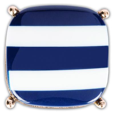 The Nauti Snap is a navy/white stripe resin stone square snap.