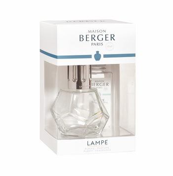 Geometry Lampe Gift Set - Clear Lampe includes everything you need to get started. It comes with gift box, lampe, snuffer cap, vent cap, funnel, and instructions. home fragrance air purifier by lampe berger maison berger