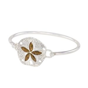 sand dollar bracelet with sand handmade in the USA by dune jewelry