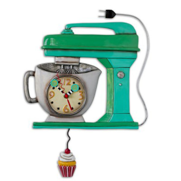 vintage mixer clock with cupcake pendulum