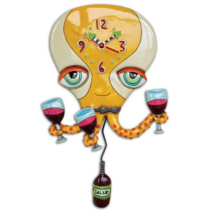 yellow octopus with three wine glasses and wine bottle pendulum